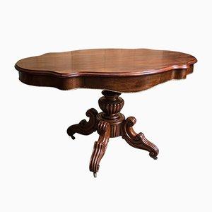 Großer antiker violinenförmiger Tisch aus Mahagoni