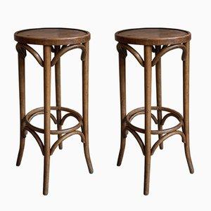 Geschwungene Vintage Barhocker aus Holz, 2er Set