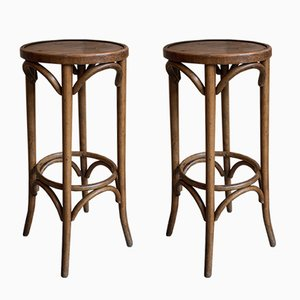 Vintage Curved Wood Bar Stools, Set of 2