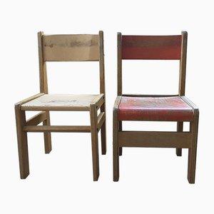 Chaises d'École Maternelle Vintage, Set de 2