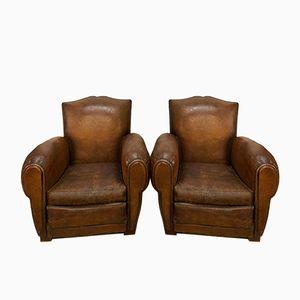 Club chair in pelle color cognac, anni '60, set di 2
