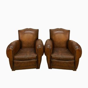 Cognac Leather Club Armchairs, 1960s, Set of 2