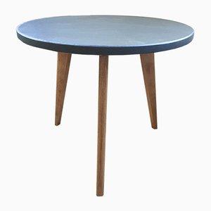 Tavolino da caffè tripode vintage verde impiallacciato