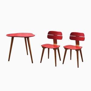 Juego de silla y mesa infantil vintage de Baumann