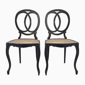 Antique Napoleon Medallion Chairs, Set of 2