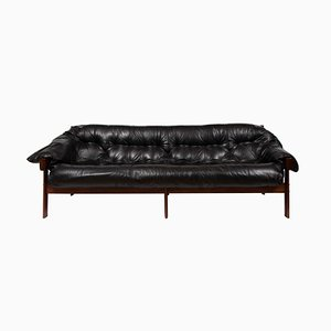Brazilian Leather Tufted Sofa by Percival Lafer, 1960s