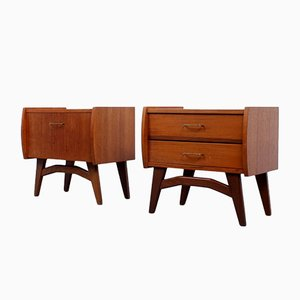 Small Teak Nightstands, 1950s, Set of 2
