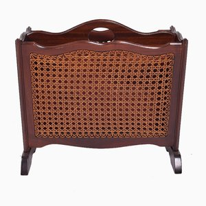 Antique Mahogany and Straw Magazine Rack