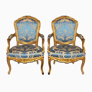 Antique Rococo Style Gilt Armchairs, Set of 2