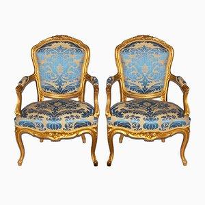 Fauteuils Style Rococo Antiques Dorés, Set de 2