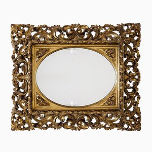 Antiker Spiegel mit vergoldetem Holzrahmen, 19. Jh.