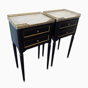 Louis XVI Style White Marble & Brass Nightstands, 1960s, Set of 2