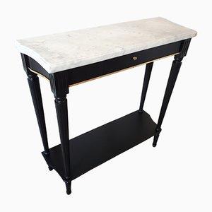 Table Console Style Louis XVI en Marbre et Laiton, 1960s