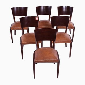 Art Deco Walnut Dining Chairs, 1920s, Set of 6