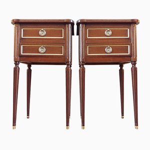 Louis XVI Gilded Bronze & Wood Nightstands, 1980s, Set of 2