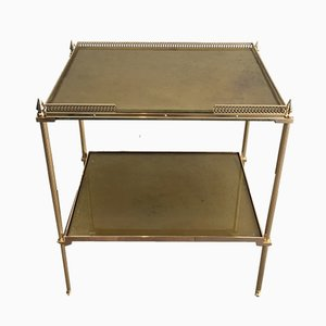 Neoclassical Brass Side Table with Eglomised Mirror Shelves, 1940s