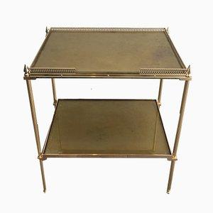 Tavolino neoclassico in ottone con ripiani in vetro specchiato èglomisé, anni '40