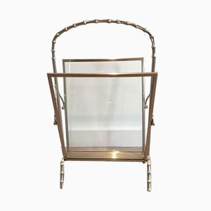Faux-Bamboo Silvered Bronze Magazine Rack from Maison Bagués, 1940s