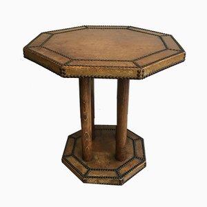 Gueridon Tisch mit Ledermantel, 1900er