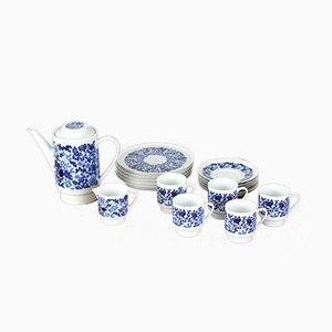 Handbemaltes Kaffeeservice in Blau & Weiß von Kahla, 1960er