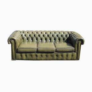Green Leather Three-Seater Chesterfield Sofa, 1960s