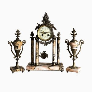 Antique Louis XVI Style Bronze & Marble Clock & 2 Cassolettes