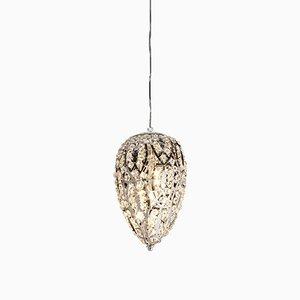 Petite Lampe à Suspension Egg Arabesque en Acier et Cristal de VGnewtrend