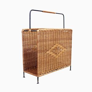 Wicker and Metal Magazine Rack