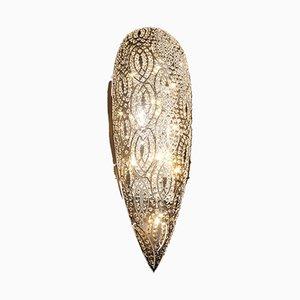 Arabeske Wandlampe aus Stahl & Kristallglas von VGnewtrend