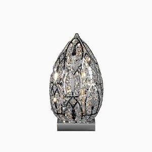 Lámpara de mesa Egg pequeña de acero y cristal arabesco de VGnewtrend