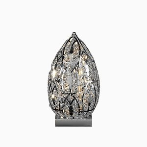 Small Steel & Crystal Egg Arabesque Table Lamp from VGnewtrend