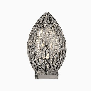 Medium Steel & Crystal Egg Arabesque Table Lamp from VGnewtrend