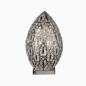 Mittelgroße arabeske Egg Tischlampe aus Stahl & Kristallglas von VGnewtrend