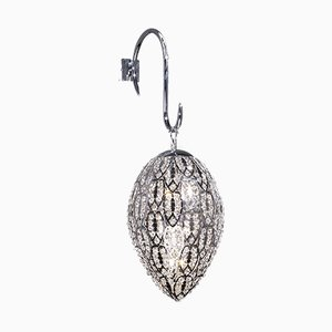 Mittelgroße arabeske Egg Wandlampe aus Stahl & Kristallglas von VGnewtrend
