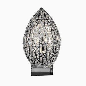 Arabeske Egg Tischlampe aus Stahl & Kristallglas von VGnewtrend