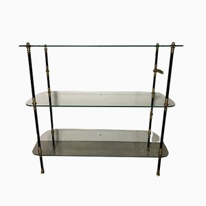 Vintage Glass and Brass Display Shelf