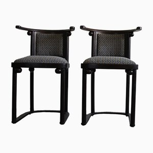 Art Nouveau Style Armchairs & Table Set by Josef Hoffmann for Wittmann, 1980s