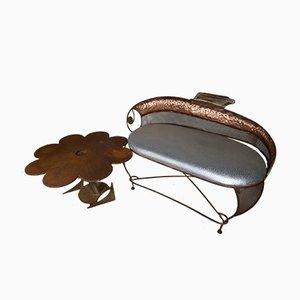 Tavolo e divano scultorei in ottone e ottone di Antic Center Contemporary