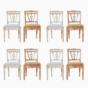 Sedie da pranzo gustaviane, fine XIX secolo, set di 8