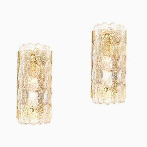 Apliques vintage de latón y vidrio de Carl Fagerlund para Orrefors