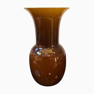 Vaso in vetro di Murano marrone di Aureliano Toso, inizio XXI secolo