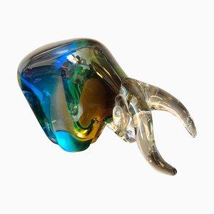 Sommerso Murano Glass Bull Sculpture Seguso, 1970s