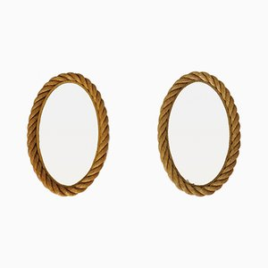 Oval Shaped Rope Mirrors, 1950s, Set of 2