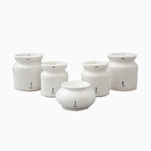 Recipientes Bauhaus vintage de porcelana de KPM Berlin. Juego de 5