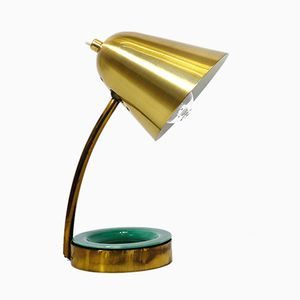 Brass Lamp with Ceramic Pocket, 1950s