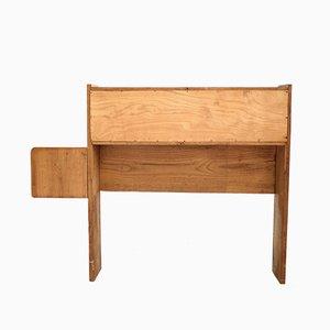 Testiera da letto in legno chiaro, anni '60