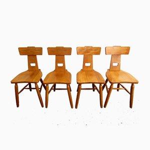 Brutalist Dutch Oak Dining Chairs from Oirschotse Meubelmakerij, 1970s, Set of 4