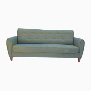 Green Chameleon Sofa with Yellow Buttons, 1960s