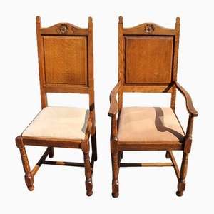 Oak Highback Chairs with Rose Motif, 1920s, Set of 8
