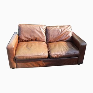Brown Leather Two-Seater Sofa, 1960s
